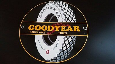 Vintage Goodyear Airplane Tires Porcelain Gas Service Station Pump Plate Sign