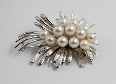 Pearl Cluster Silver Floral Pin - Nr #39