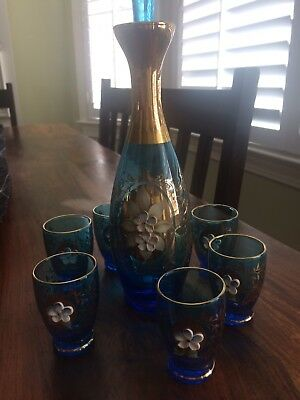 Hand Blown and Painted Murano Venetian Glass Decanter with 6 Small Glasses