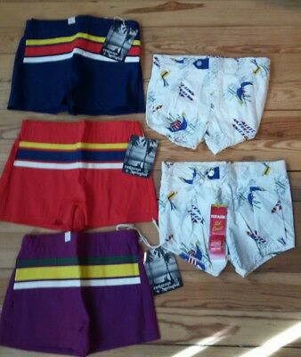 NEW LOT Old Store Stock Vintage 50's-60 Boys Size 5 M S Beach Scene Swim Trunks