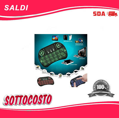 MINI TASTIERA i8 RETROILLUMINATA 3 COLORI WIRELESS TOUCHPAD PER PC SMART TV BOX