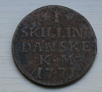 1771 Denmark One Skilling copper coin