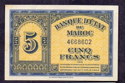 5 Francs From Morocco 1.8.1943 French Colony Aunc