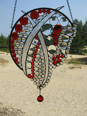 Contemporary Stained Glass hanging art, bevels, glass jewels, faceted crystal