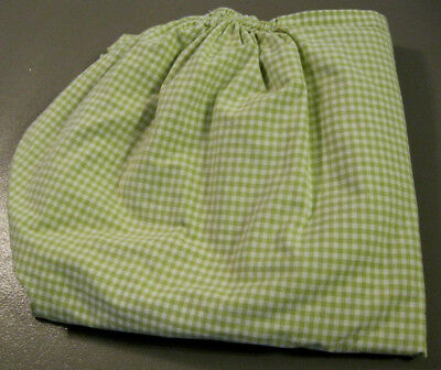 Pottery Barn Kids Crib Sheet Fitted Green & White Check Gingham 100% Cotton