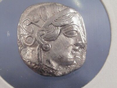 ANCIENT GREEK COIN ATHENIAN TETRADRACHM ca 450-410 BC  F ATHENA SILVER
