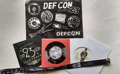 DEFCON 23 human badge, lanyard, stickers, 2 cds, vinyl record