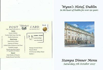 2017 Ireland Dublin STAMPA AWARDS DINNER Special Postcard 7th October with Menu