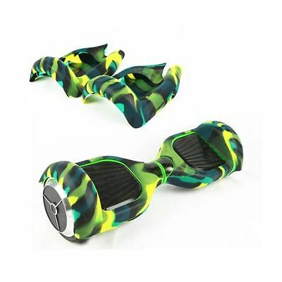 Coque silicone de protection pour hoverboard neuf camouflage vert/jaune/noir