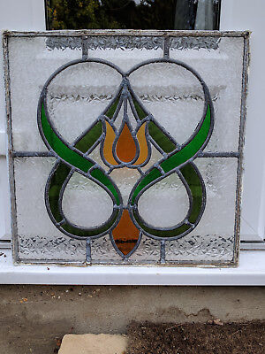 2 x Vintage Art Deco Leaded Stained Glass Window - Reclaimed - circa 1930`s