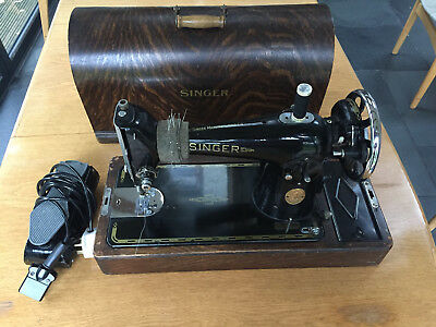Singer Electric Sewing Machine Model No  201K with Wooden case