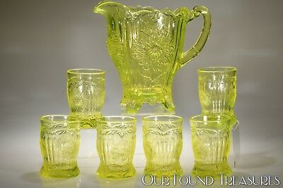 No. 902PV & 902TV DAHLIA by Mosser CANARY VASELINE Handled Pitcher & 6 Tumblers