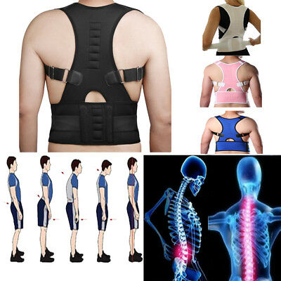 Magnetic Posture Back Shoulder Corrector Support Brace Belt Therapy Adjustable