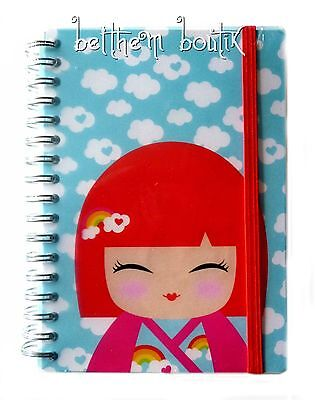 Goth: Grand Carnet de Notes à Spirales Kimmi Junior Kokeshi BLEU & ROSE gothique