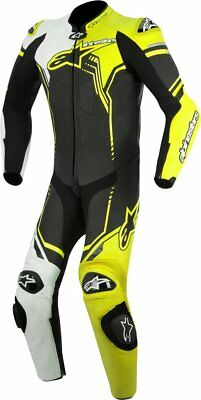 Alpinestars Mens GP Plus 1 Piece Armored Leather Suit US 38 Black White Yellow