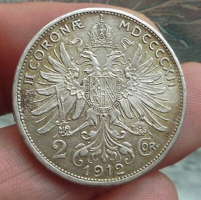 1912 Austria 2 Corona Lovely High Detailed Silver Coin (27.1Mm)