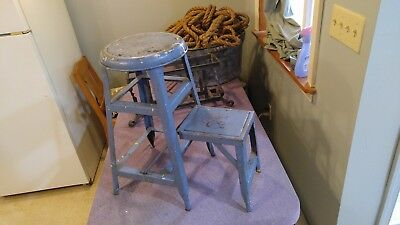 Antique Vintage Metal Stool Shabby Blue Metal Step Stool 22 Inch Plant Stand