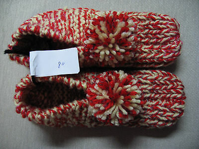 New Amish Handmade Knit House Slippers Red/Yellow Mix Womans Sm Mans XX Sm 8""
