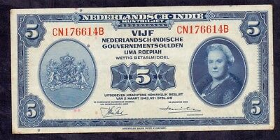 5 Gulden From Netherland Indies Colony From The Netherlands 1943 XF