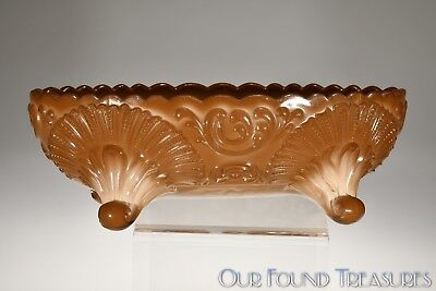 ca. 1899; 1902 GENEVA  By Northwood / KcKee CHOCOLATE Footed Oval Bowl