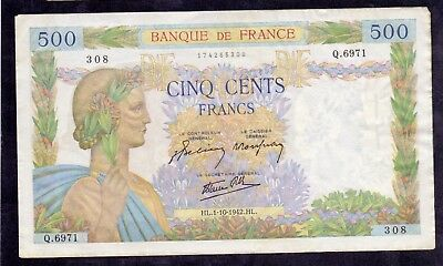 500 Francs La Paix From France 1.10.1942 XF+