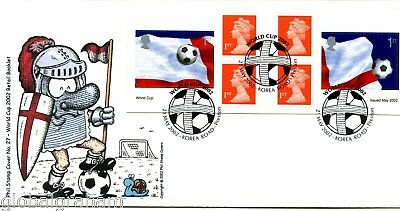 2002 World Cup Self-Ad. Book Great Britain Phil Stamp Illustrated Fdc 60/100 Vgc