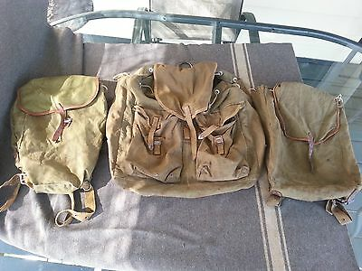 ORIGINAL WWII German or Russian Backpacks LOT OF 3 back pack ruck sack