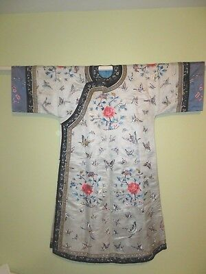 Fine Chinese Pale Blue Embroidered Butterly Robe. Beautiful Excellent Condition!