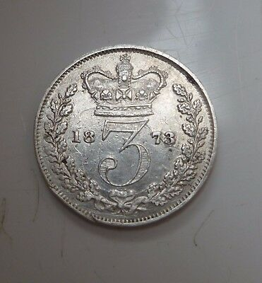 1873 Victoria Silver Threepence,good Details