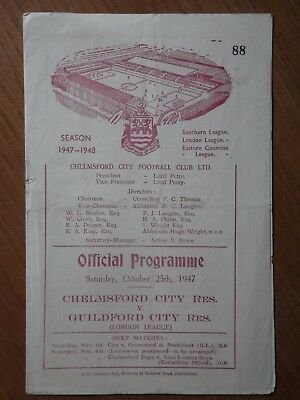 CHELMSFORD CITY (Champions) v GUILDFORD CITY Reserves 1947-1948 London League