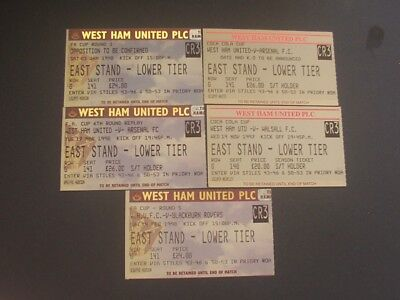 Tickets  West Ham United 5 Fa Cup / Coca Cola Cup Games As Listed