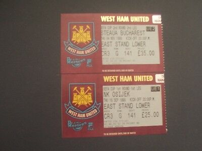 TICKETS  WEST HAM UNITED v OSIJEK & STEAUA BUCHAREST  UEFA CUP 1999