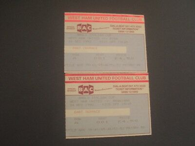 TICKETS  WEST HAM UNITED v PISA & REGGIANA  ANGLO ITALIAN CUP 1992