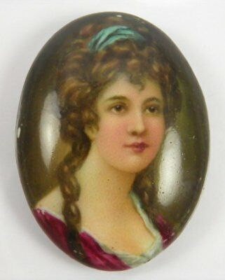 Antique 19th century portrait miniature painting on porcelain of a lady