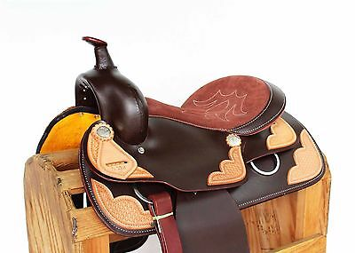 """15"""" Brown Tooled Leather Pleasure Trail Ranch Cowboy Horse Western Saddle Tack"""