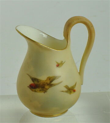 "ROYAL WORCESTER CHINAWORKS MINIATURE SWALLOW ANTIQUE 1902 BLUSH JUG 6cm-2 3/4"" H"