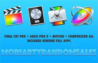 Final Cut Pro + Logic Pro X + Motion + Compressor All Included Genuine Full Apps