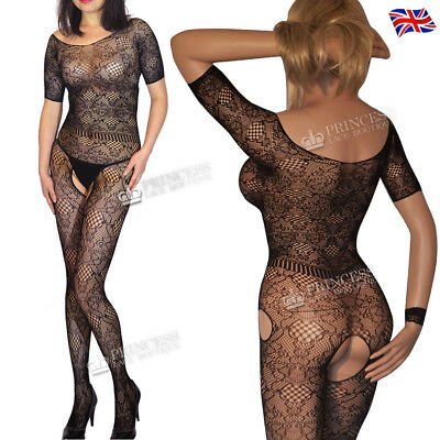 Sleeved Crotchless Bodystocking Fishnet Catsuit Tights Nightclub Lingerie Gift