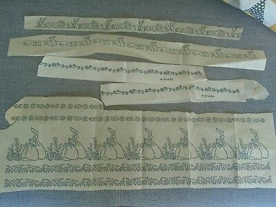 Vintage Embroidery Transfer Borders Incl. Crinoline Lady