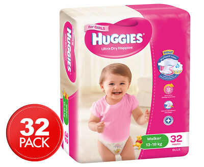 Huggies Ultra Dry Walker Nappies Girls 13-18kg 32pk
