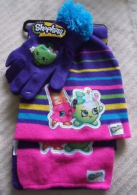 Shopkins 3 Piece Set - Hat Scarf Gloves - Girls - One Size -New With Tags