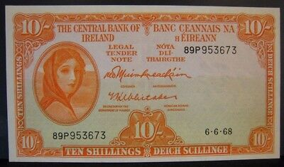 1968 Ireland, Central Bank of, 10 Shillings Unc. Crisp  ** FREE U.S SHIPPING **