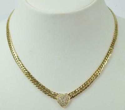 Hals Collier Kette mit Herz Diamonds 0,75 ct. in 14 Kt. 585er Gold necklace 45cm