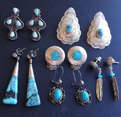 ALL STERLING SILVER (29.8g) TURQUOISE Earrings Lot Native American WW31
