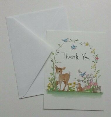 Set of 8 Thank You Greeting Notecards & Envelopes ~ Woodland Animals Deer Birds