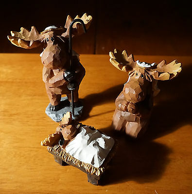 3 PIECE MOOSE NATIVITY SCENE SET Faux Carved Cabin Wood Christmas Lodge Decor