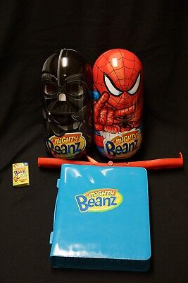 MIGHTY BEANZ Magnetic Jumping Magic Toys Vader Spider man + FLIP TRACK Holder