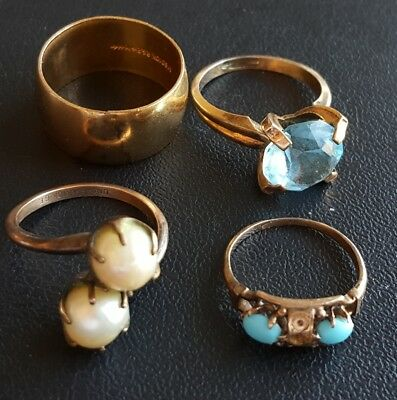 ALL GOLD FILLED (13.5g) Vtg 4Pc Ring Lot Blue Topaz Pearl Wedding Band WW37