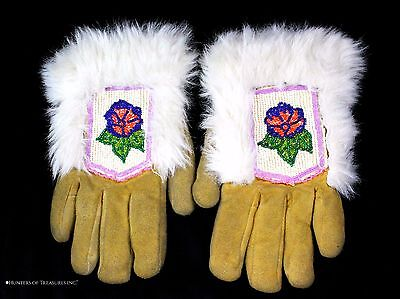 Old Vintage Native American Athabascan Indian Beaded Gloves Beadwork Alaska