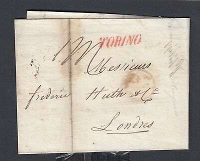 Italy 1835 Stampless Folded Letter Sfl Torino Turin Straight-Line To London Uk
